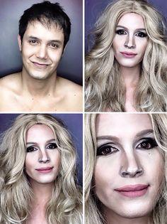 Un homme se maquille en star de Hollywood   un homme se maquille en star de hollywood julia roberts