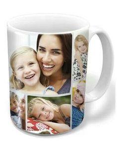 monogram collage custom photo mug turquoise custom photo mug