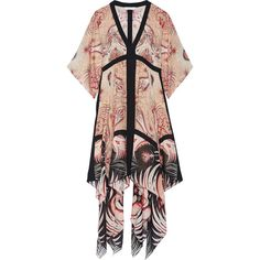Rachel Zoe Miranda asymmetric printed silk midi dress (1 443 AUD) ❤ liked on Polyvore featuring dresses, blush, mid calf dresses, striped dress, boho dresses, colorful dresses and long-sleeve midi dresses