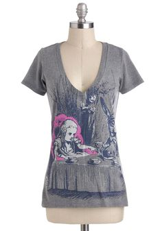 Novel Tee in Alice by Out of Print - Grey, Blue, Pink, Casual, Short Sleeves, V Neck, Mid-length, Novelty Print