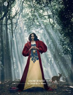 Snow White at Harrods November editorial, by Oscar de la Renta.