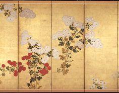 Detail: Chrysanthemums. Kiku zu byobu. Edo period. 17th–18th century Style of Tawaraya Sôtatsu (Japanese, died about 1642)