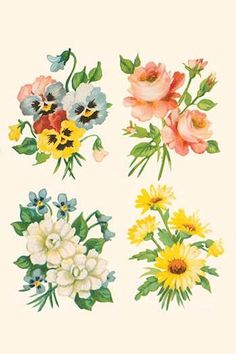 A series of four small fancy flower arrangements. In the 1930's the classic homemaker could purchase decals, applied by water, to decorate the kitchen, furniture, or anything else they desired. These