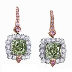 Lot in Christie's Magnificent Jewels Hong Kong November A pair of diamonds earrings featuring a natural fancy intense green diamond and a fancy intense yellowish green diamond, also. Green Diamond, Diamond Studs, Diamond Earrings, High Jewelry, Jewellery, Diamond Are A Girls Best Friend, Colored Diamonds, Fancy, Jewels