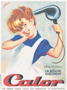 """CALOR. """"Séchez vos cheveux avec la douche éléctrique"""". Vers 1950 SABO"""