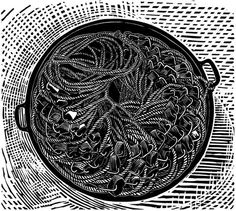 """Longlines"" linocut by James Dodds RCA (b.1957). www.jamesdodds.co.uk Tags: Linocut, Cut, Print, Linoleum, Lino, Carving, Block, Woodcut, Helen Elstone, Rope, Basket, Lines."