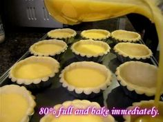 Egg Tarts (revised recipe)    * (Can use less sugar in egg filling)