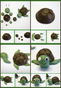 Stap voor stap uitleg hoe je een schildpad maakt van klei of marsepein