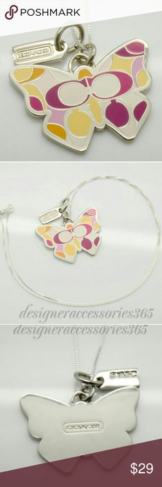 "New Coach Butterfly charm sterling Silver Necklace NEW Coach butterfly charm on a great quality 18"" sterling silver chain! The butterfly charm is multi-color fuchsia, white, yellow, pink, orange and silver. There are signature C's within the pattern! It is outlined in silver and has the Coach logo embossed on back. Includes Coach silver miniature logo hangtag! Approximate dimensions of charm:  1 3/8"" wide and 1"" tall! Coach dust bag available upon request! Coach Jewelry Necklaces"