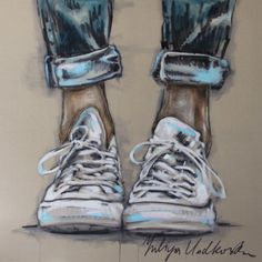 "Yuliya Vladkovska; Acrylic 2013 Painting ""allstars"". Saatchi Online Artist - I feel like there is an Emphasis on the shoes in this picture. Overall I think it works very well together in a soft & sketched out way."