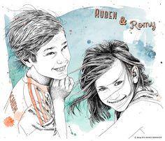 Ruben & Romy by Eva-Maria Birkhoff People Illustration, Portrait, Anime, Art, Art Background, Headshot Photography, Kunst, Portrait Paintings, Cartoon Movies