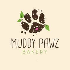 Muddy Pawz logo design created by combining leaves, muddy paw and dog head. | Paw Prints, Muddy Paws, Leaves, All Natural Dog Treats, Healthy Bakery, Pet Dessert, Doggie Treats, Dirty Dog, Cute Puppy, Logo Design, Graphic Design, Pet Logo