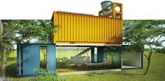 Contêineres viram casa prática e barata de 70 m² - Casa