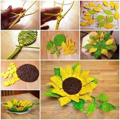 DIY Paper Woven Sunflower Tray   iCreativeIdeas.com Follow Us on Facebook --> https://www.facebook.com/icreativeideas