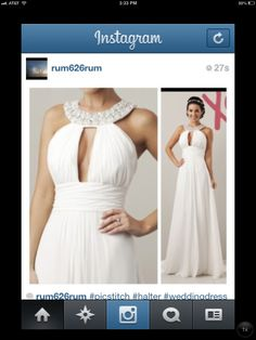 Love this halter wedding dress - I would prefer a bit tighter at the hips though