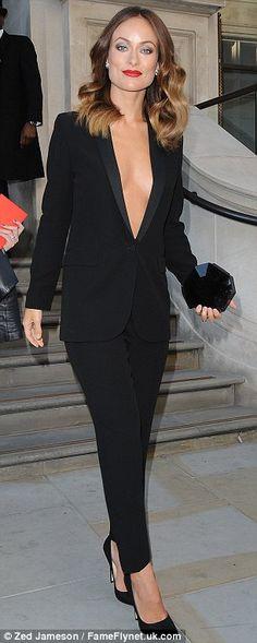 Effortlessly chic: Olivia Wilde completed her premiere look with a pair of black skyscraper heels