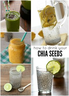 Delicious Ways to Eat Chia Seeds So many great ways to get chia seeds in everyday by drinking them in these yummy waters and smoothies.So many great ways to get chia seeds in everyday by drinking them in these yummy waters and smoothies. Healthy Drinks, Healthy Snacks, Healthy Eating, Healthy Recipes, Detox Drinks, Nutrition Drinks, Gf Recipes, Healthy Smoothies, Healthy Tips