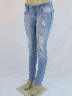 NWT M.MICHEL Sexy Fashion Slim Skinny Ripped Light Blue Jeans