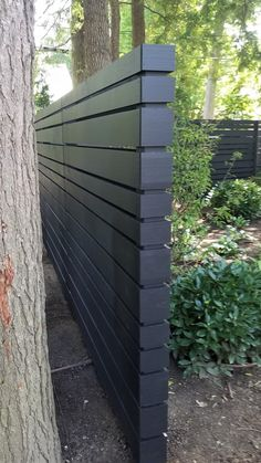 Two-sided Contemporary Fence – New England Cedar Fence - Modern Design backyard design diy ideas Patio Fence, Front Fence, Cedar Fence, Fence Landscaping, Backyard Fences, Wood Fences, Garden Fences, Concrete Fence, Outdoor Fencing