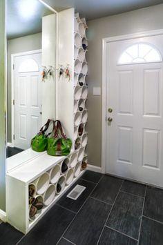 rangement chaussure dans entree avec tube PVC