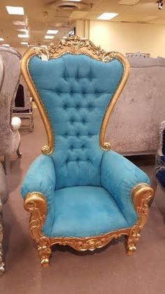 6 Ft. Tall Throne Chair French Baroque Wedding Bride Groom Throne Chairs High Back Chair Hotel Lounge Chair Bar Chair Throne Chair Furniture Victorian Style Chair (Blue & Gold)