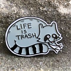 LIFE IS TRASH enamel pin on Storenvy