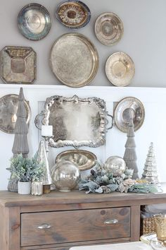 Christmas Tablescape with HomeGoods Silver Platters, Silver Trays, Silver Tray Decor, Rooms For Rent, Christmas Tablescapes, Dining Room Walls, Plates On Wall, Plate Wall, Vintage Home Decor