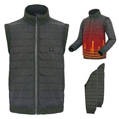Hunting Motorcycles Hiking MenS Heated Waistcoat//Body Warmer Battery-Operated Men Heated Down Vest Polyester USB Charging Hooded Vest,Suitable for Outdoor Skiing Camping