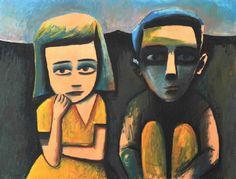 Charles Blackman (born Seated Children in Landscape… Australian Painting, Australian Artists, Alice In Wonderland Series, Expressionist Artists, Best Portraits, Modern Artists, Medium Art, Artist Art, Painting & Drawing