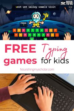 Free Typing Games for Kids: Free typing games and practice make learning touch typing fun and easy for your kids! Check out these games for all skill levels! Typing Practice For Kids, Learning Games For Kids, Learning Spaces, Typing Skills, Typing Games, Star Citizen, Homeschool Curriculum Reviews, Homeschool Books, Homeschooling Resources