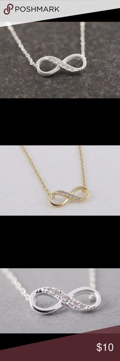 Infinity Crystal Pendant Necklace Infinity Crystal Pendant Necklace. Available in gold or silver tone. Pendant is 1.7 x .7 cm. Jewelry Necklaces