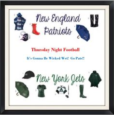 Cute rain gear for both teams - I posted this on Instagram for Thursday Night Football Pats Jets Gillette Stadium. Awesome game. Check out our Instagram! If you're in DFW, come by McSwiggans. @north.texas.ne.patriots.club