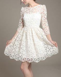 Beige tulle lace dress women dress fashion by happyfamilyjudy, $96.99