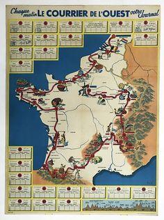 1954 Tour De France Original Vintage Map Poster