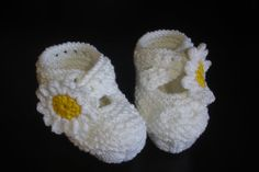 White Baby Girl Shoes Baby Shoes Knitted Baby by LavenderBlossoms, $17.00