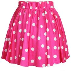 AvaCostume Women's High Waisted Candy Colors Polka Dot Skirt ❤ liked on Polyvore featuring skirts, polka dot skirts, high waisted polka dot skirt, pink skirt, high rise skirts and high waisted skirts