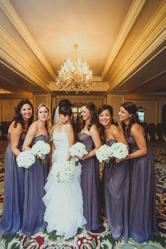 Full length periwinkle bridesmaids gowns