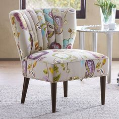 Madison Park Korey Channel Back Slipper Chair in Multi - Olliix wingback slipper chair provides ample deep seating and adds classic touches with its channel like piping details. The chair features a sweet floral pattern in an array of fuchs Upholstery Trim, Furniture Upholstery, Upholstery Cleaning, Reupholster Furniture, Upholstery Cushions, Furniture Refinishing, Furniture Covers, House Furniture, Custom Furniture