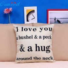 E5 JA 19 I Love You A Bushel And A Peck Sofa Bed Home Decor Pillow Case Cushion Cover #Affiliate