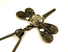 Steampunk Dragonfly pendant ( mechanical watch parts in resin) Artisan dragonfly necklace.