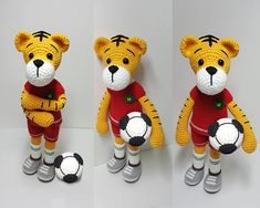 This is a crochet pattern PDF and not the finished doll Following this pattern Tiger will be approximately 25cm. The pattern is available in English Materials Yarn : Hera cotton/6ply (cotton 55%,Acrylic 45%) Colors: White, Green,Brown,Red,Black,Yellow,Grey Hook: 2.0mm (or accordance with the