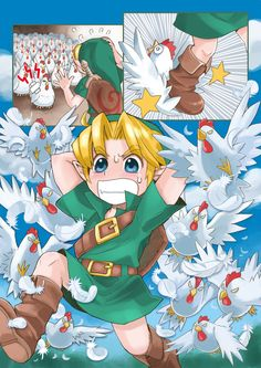 The Legend of Zelda: Ocarina of Time, Young Link and the Cucco P.s. this is a manga. Read right to left.