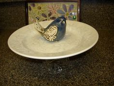 Garden Bird Feeder Ceramic Tabletop Blue Bird by rosepetalcottage, $10.00