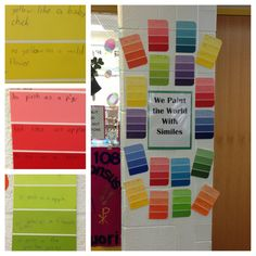 Paint strips from Home Depot. I'm using this to review figurative language. Students will have to personify the color, write an alliteration about their color, a sentence with onomatopoeia, and a simile or metaphor.