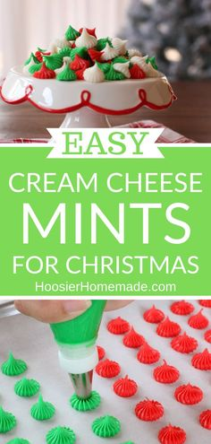 Cream cheese mints for Christmas – Hoosier Homemade - Christmas Desserts Christmas Snacks, Christmas Appetizers, Christmas Cooking, Christmas Goodies, Holiday Treats, Christmas Parties, Holiday Desserts, Holiday Recipes, Homemade Christmas Treats