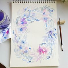 for today's quick painting. Loose, dreamy, flowy. Stay blessed! Much love from me to you. . Shinhan paints; Berkeley paper 200 gsm; Escoda Versatil no.8 brush . #thismommyiscrafty #loosefloralpainting #looseflorals #watercolorflowers #watercolorpainting #watercolorblooms #wreath #watercolorwreath #aquarelle #watercolor #watercolorbleed #escoda