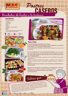 Brocheta de frutas a la barbacoa Empanadas, Stevia, Tapas, Bbq, Recipies, Food And Drink, Menu, Yummy Food, Snacks