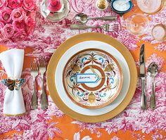 pink + orange + gold table setting