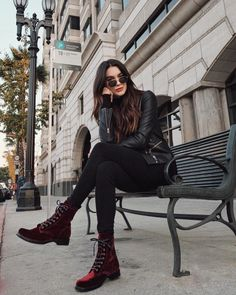 Loving these velvet booties for the holiday season! fall and winter street style Fall Family Photo Outfits, Fall Outfits, Casual Outfits, Fashion Outfits, Womens Fashion, Rock Chic Outfits, Converse Outfits, Fashion Trends, Combat Boot Outfits