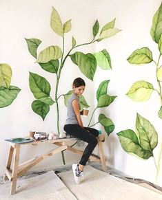 New wall painting mural creative Ideas Mural Painting, Mural Art, Diy Painting, Home Wall Painting, Space Painting, Coffee Painting, Bedroom Green, Diy Wall, Wall Murials